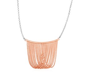 Necklace with Multi Strand Rose Finish Chain Drop in Sterling Silver
