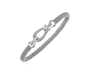 Narrow Popcorn Texture Bracelet with Hook Clasp and Diamonds in Sterling Silver