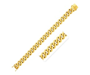 14k Yellow Gold 8 1/2 inch Wide Polished Curb Chain Bracelet