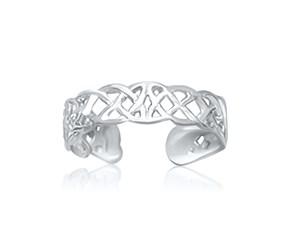 Celtic Knot Motif Toe Ring in 14K White Gold