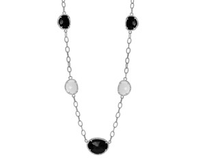 Black and White Agate and Diamond Necklace in Sterling Silver