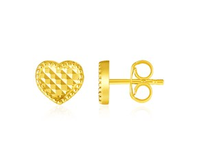 14k Yellow Gold Textured Heart Post Earrings