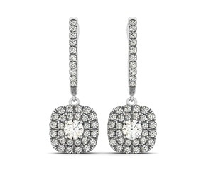Double Halo Style Cushion Outer Shaped Diamond Drop Earrings in 14k White Gold (3/4 cttw)