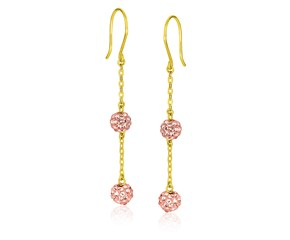 Pink Tone Crystal Ball Dangling Earrings in 14k Yellow Gold
