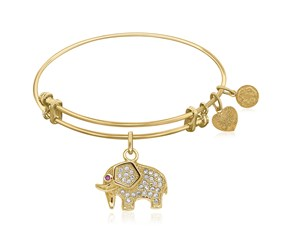 Expandable Yellow Tone Brass Bangle with Elephant Symbol with Cubic Zirconia