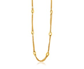 14k Yellow Gold Curved Oval Link and Multi-Strand Cable Chain Necklace