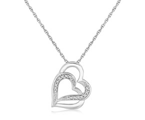 Diamond Studded Entwined Heart Pendant in Sterling Silver (.06 cttw)