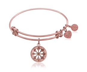 Expandable Pink Tone Brass Bangle with Enamel Flower Symbol