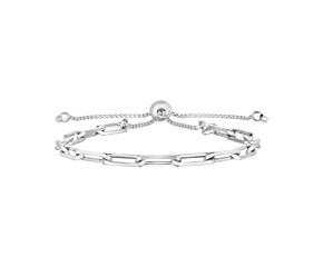 Sterling Silver Paperclip Chain Adjustable Bracelet