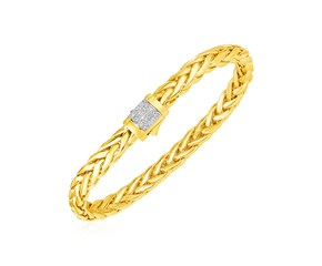 Polished Woven Rope Bracelet with Diamond Accented Rounded Clasp in 14k Yellow Gold