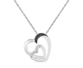 Dual Heart Loop Style Diamond Studded Pendant in Sterling Silver (.02 cttw)