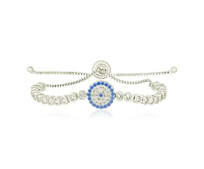 Sterling Silver Adjustable Enameled Eye Motif Bracelet with Cubic Zirconias