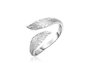 Sterling Silver Bypass Toe Ring with Leaves