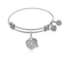 Expandable White Tone Brass Bangle with Heart and Key with Cubic Zirconia
