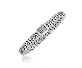 Braided Style White Sapphire Embellished Men's Bracelet in Sterling Silver