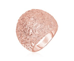Textured Dome Ring with Rose Finish in Sterling Silver