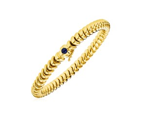 14k Yellow Gold 7 1/2 inch Dragon Link Bracelet with Blue Sapphire