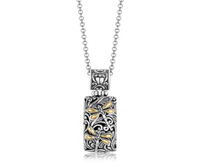 Rectangular Dragonfly Motif Pendant in 18K Yellow Gold and Sterling Silver