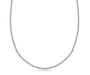 Cable Link Pendant Chain in Rhodium Plated Sterling Silver