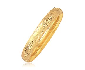 Classic Floral Cut Bangle in 14k Yellow Gold (10.0mm)