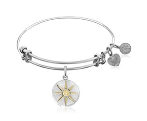 Expandable White Tone Brass Bangle with Yellow and White Finish North Star Symbol