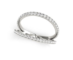 Split Band Design Diamond Embellished Ring in 14k White Gold (1/4 cttw)