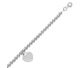 Bead Chain Bracelet with Heart Charm in Rhodium Plated Sterling Silver