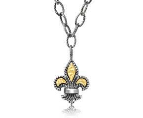 Fleur De Lis Pendant with Adjustable Chain in 18K Yellow Gold & Sterling Silver