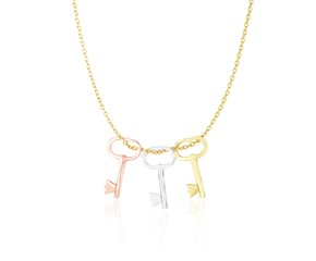 Skeleton Key Charm Chain Necklace in 14k Tri-Color Gold