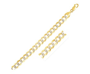 Pave Curb Chain in 14k Two Tone Gold (8.2 mm)