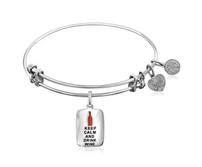 Expandable White Tone Brass Bangle with Keep Calm and Drink Wine Symbol