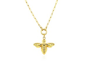 14K Yellow Gold Bee Necklace