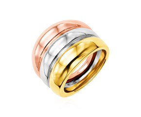 14k Tri Color Gold Polished Ring