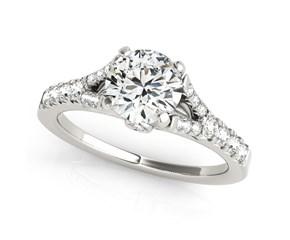 14K White Gold Split Shank Round Prong Set Diamond Engagement Ring (1 3/8 ct. tw.)