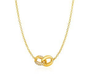 14k Yellow Gold and Diamond Necklace with Two-Link Infinity Symbol (1/4 cttw)