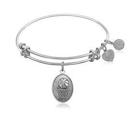 Expandable White Tone Brass Bangle with Basketball Symbol