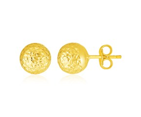 14k Yellow Gold Ball Earrings with Crystal Cut Texture