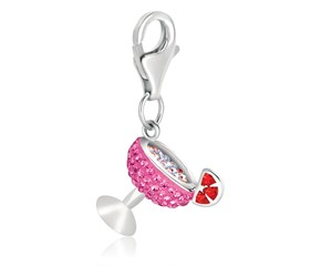 Cocktail Glass Multi Tone Crystal Encrusted Charm in Sterling Silver