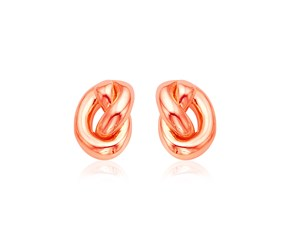 14k Rose Gold Polished Knot Earrings