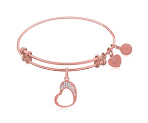 Expandable Rose Tone Brass Bangle with Open Heart with Cubic Zirconia