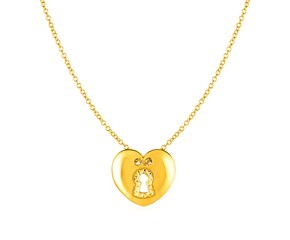 14k Yellow Gold Necklace with Heart Lock Pendant