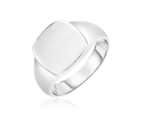 Sterling Silver Polished Square Crown Ring