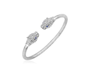 Sterling Silver Panther Head Cuff Bangle with White and Blue Cubic Zirconias