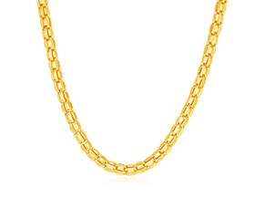14k Yellow Gold Mens Polished Box Chain Necklace