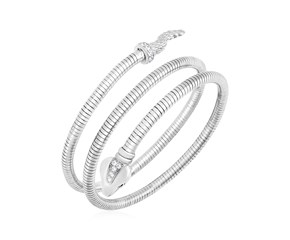 Sterling Silver Python Coil Bangle with Cubic Zirconias