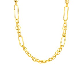 14k Yellow Gold Necklace with Polished Rectangular Oval Links