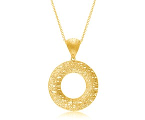 Lace Wire Motif Open Round Pendant in 14k Yellow Gold