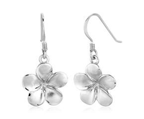 Sterling Silver Matte Textured Flower Dangle Earrings