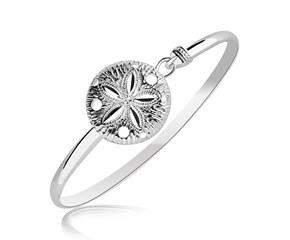 Sand Dollar Design Slim Bangle in Rhodium Plated Sterling Silver