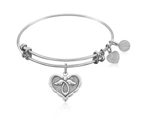 Expandable White Tone Brass Bangle with Angel Comfort Hope Symbol